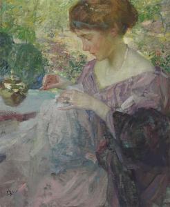 年轻女子缝纫_Young Woman Sewing-理查德·爱德华·米勒