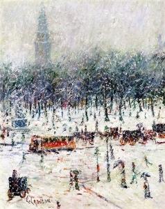 纽约雪景与远处的麦迪逊广场花园交相辉映_New York Snow Scene with Madison Square Garden in the Distance-欧内斯特·劳森
