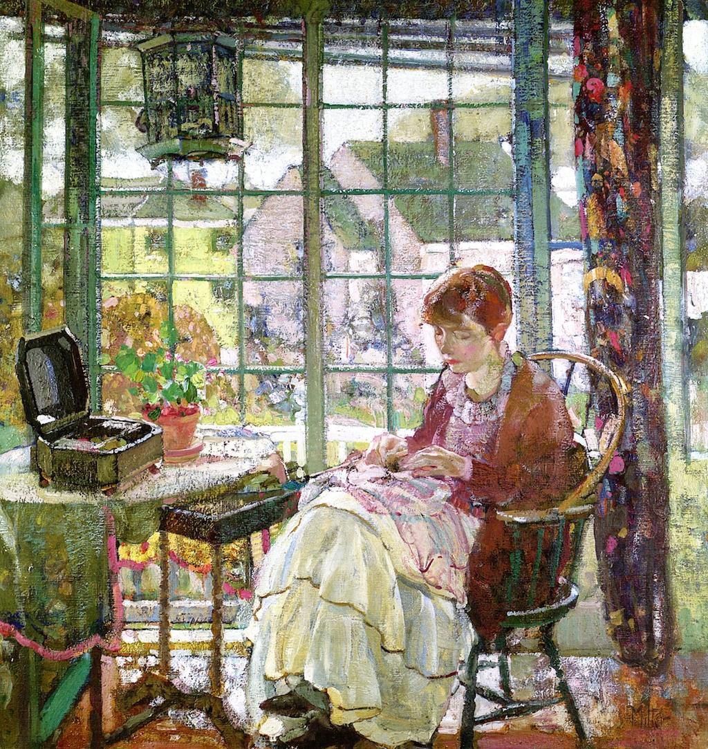 女人缝纫_Woman Sewing-理查德·爱德华·米勒