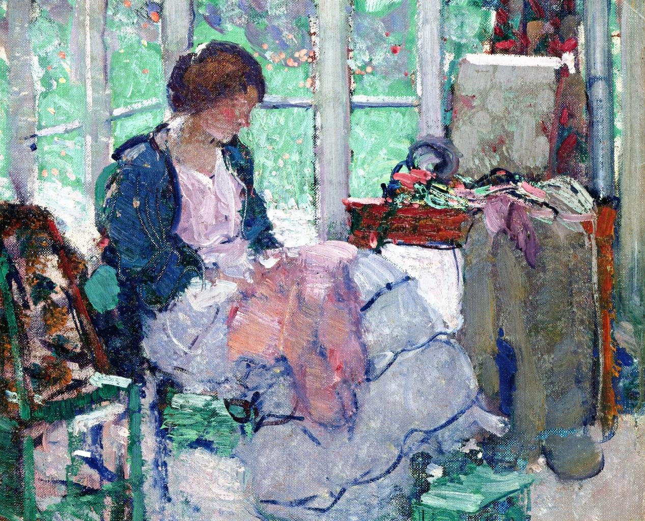 小姐缝纫_Young Lady Sewing-理查德·爱德华·米勒