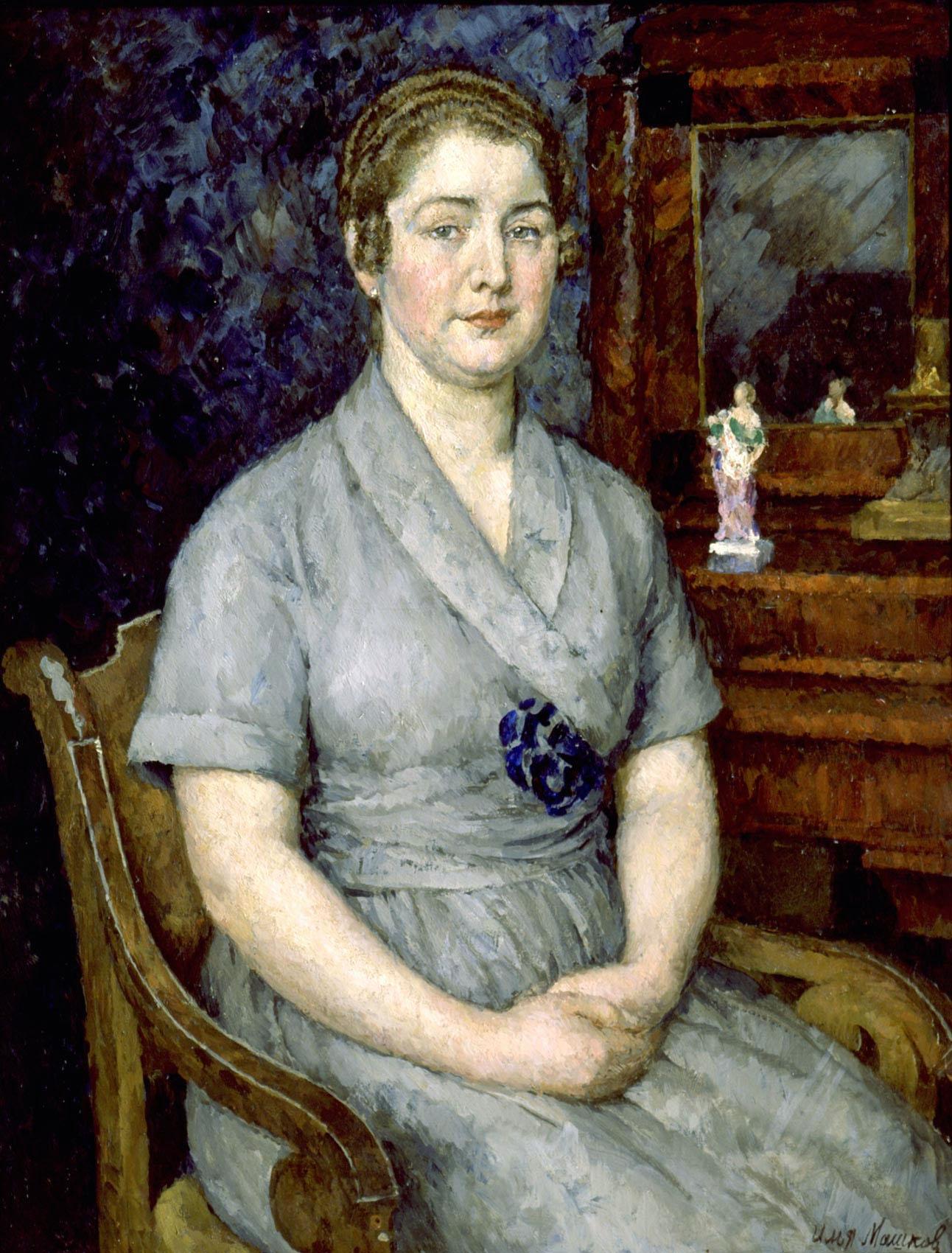 艺术家妻子玛利亚的肖像_Portrait of the artist's wife Maria-伊利亚·马什科夫