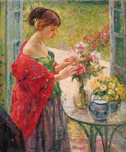 着插花_Arranging Flowers-理查德·爱德华·米勒