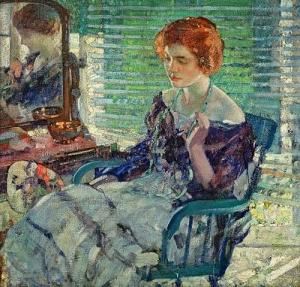 坐着的红头发的女士_Seated Lady with Red Hair-理查德·爱德华·米勒