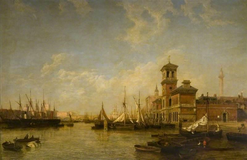 从比林斯盖特到伦敦桥,泰晤士河、伦敦池的景色尽收眼底_View of the Thames, Pool of London, from Billingsgate to London Bridge-亨利·佩特