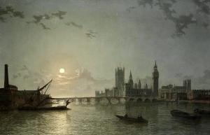 从泰晤士河遥望月光下的英国议会大厦_A Moonlit View of the Houses of Parliament from the Thames-亨利·佩特