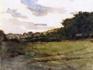 格鲁奇附近的山丘和牧场_Hill and Pasture near Gruchy-让·弗朗索瓦·米勒
