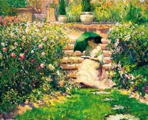 女人在花园里读书_Woman Reading in a Garden-理查德·爱德华·米勒