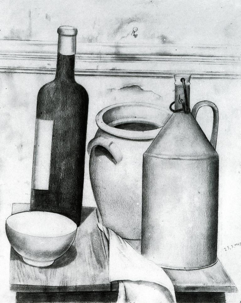 瓶瓶罐罐的静物画_Still Life with Bottles and Pot-菲利克斯·努斯鲍姆