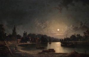 Twickenham, Middlesex, by Moonlight_Twickenham, Middlesex, by Moonlight-亨利·佩特