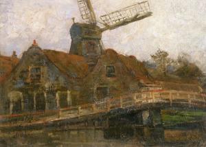 Voorweg上的房子和Paltrok磨坊_Houses and Paltrok Mill on the Voorweg-彼埃·蒙德里安