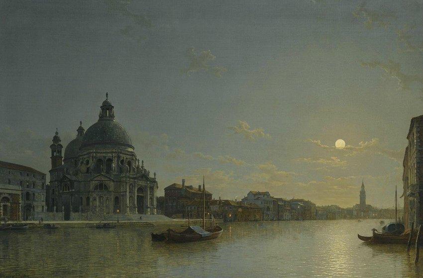 威尼斯,大运河的景观与圣玛丽亚大教堂致敬_Venice, view of the Grand Canal with the Church of Santa Maria della Salute-亨利·佩特