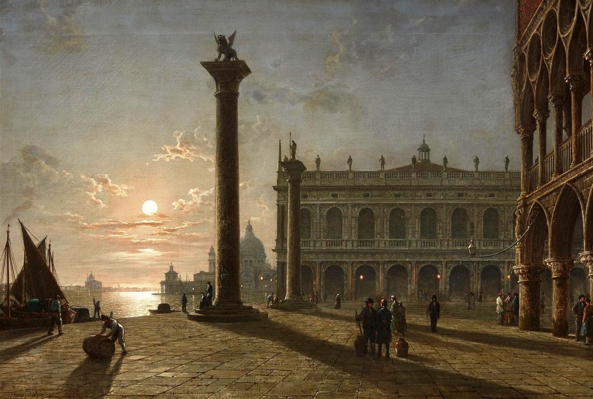 威尼斯的露天广场_The Piazetta in Venice by Night-亨利·佩特