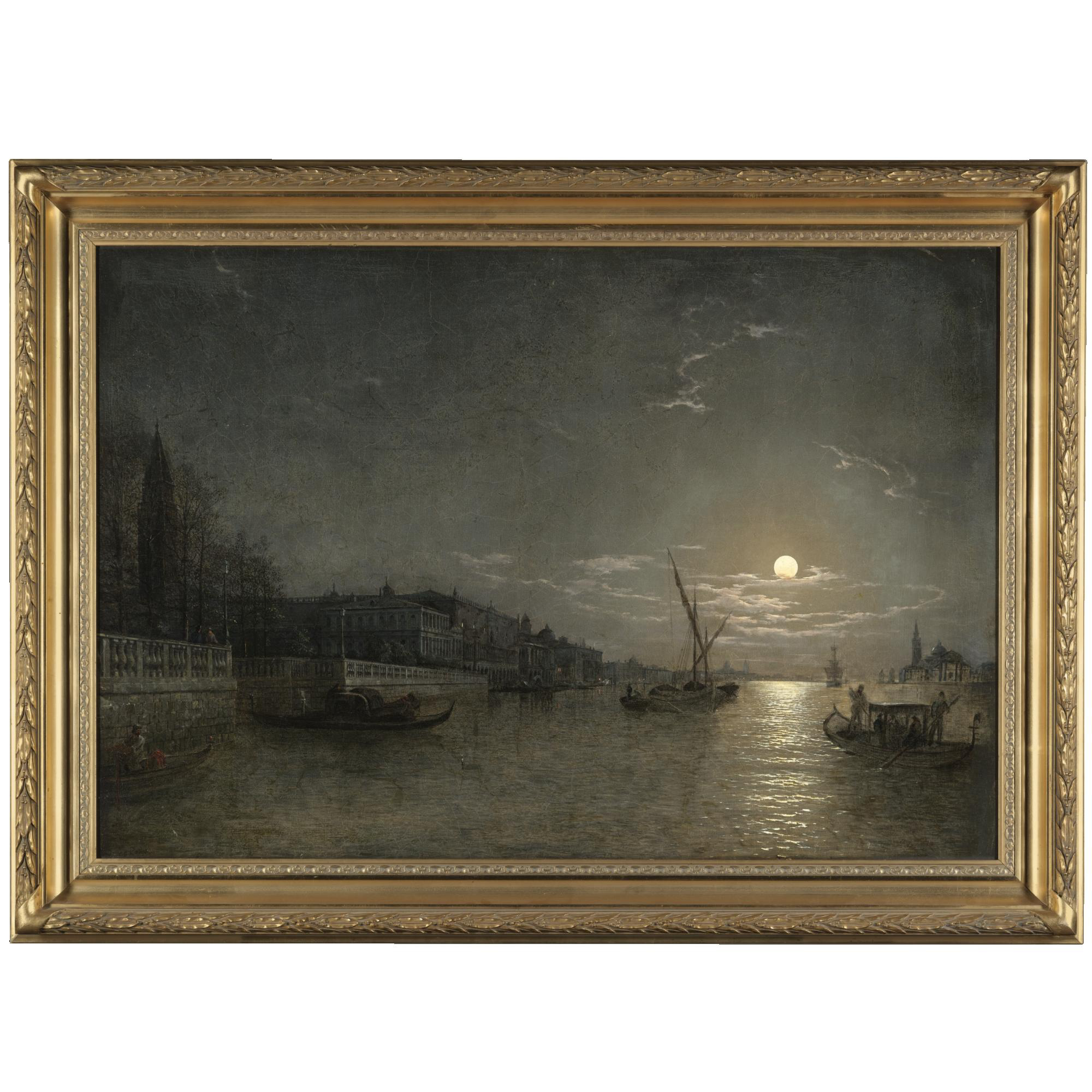 威尼斯运河上的月光_A moonlit view on the Grand Canal, Venice-亨利·佩特