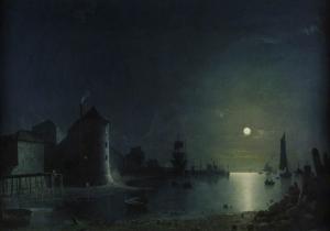 月光下的码头_Town Quay by Moonlight-亨利·佩特