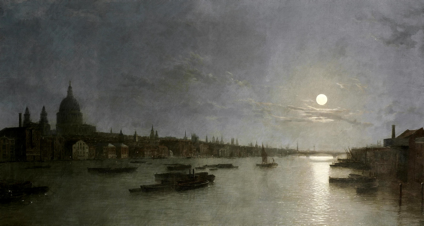 月光下的圣保罗和泰晤士河_St. Pauls and the Thames by Moonlight-亨利·佩特