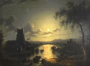 月光下河边的教堂_Church on a river by moonlight-亨利·佩特