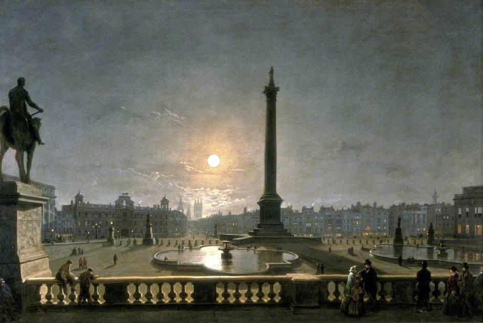 月光下,伦敦特拉法加广场北侧的诺森伯兰郡宅邸和白厅_Northumberland House and Whitehall from the North Side of Trafalgar Square, London, by Moonlight-亨利·佩特