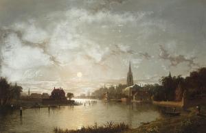 在月光下从泰晤士河看马洛的景色_View of Marlow from the Thames by moonlight-亨利·佩特