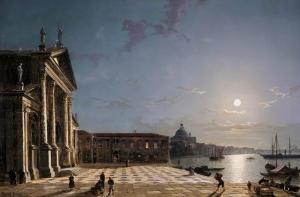 在月光下从威尼斯大运河卸货_Unloading cargo from the Grand Canal, Venice, by moonlight-亨利·佩特