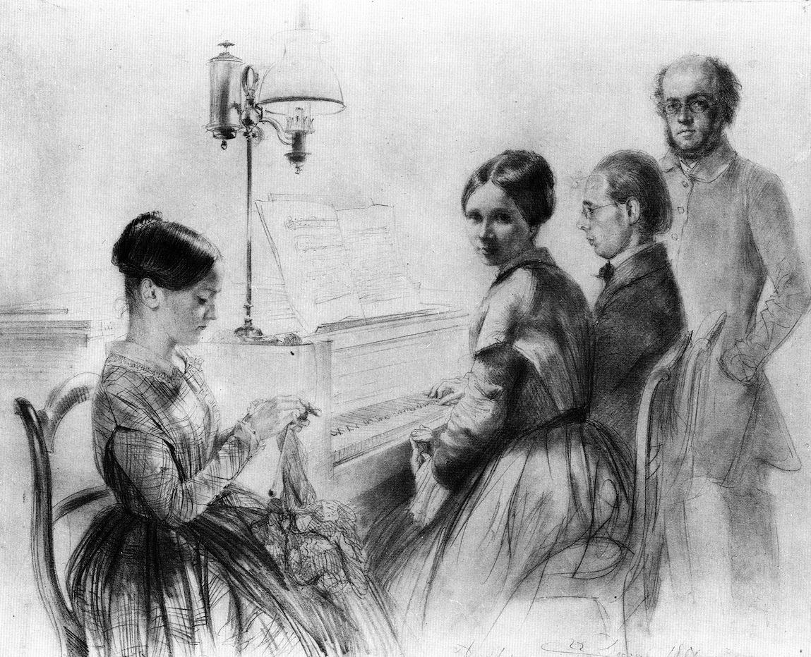 门采尔和他的哥哥、姐姐,还有一个坐在立式钢琴旁边的亲戚